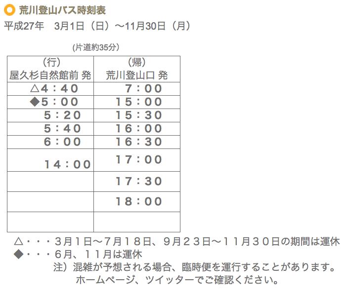 屋久島登山バス時間