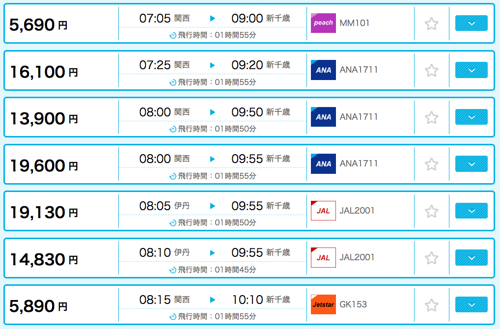 大阪から北海道まで飛行機