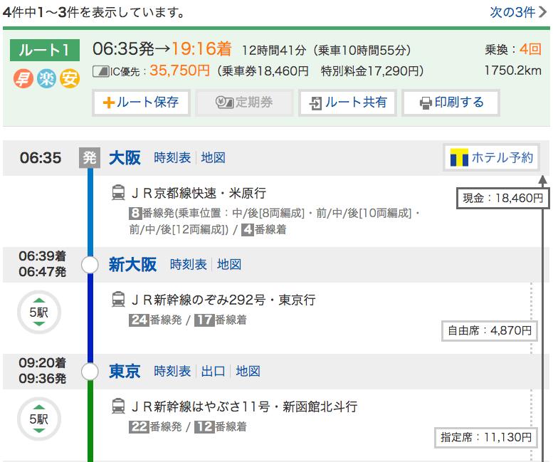 大阪から北海道新幹線